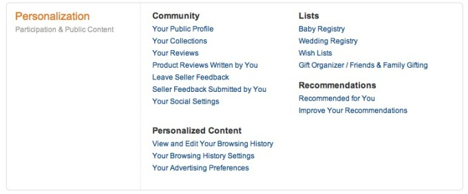 Amazon %22Your Account - Personalization%22