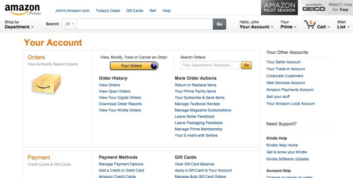 Amazon %22Your Account%22 Page