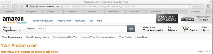 Amazon Homepage - Logged In